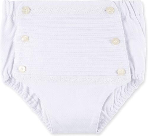 Couvre-couche bandes brodées blanc