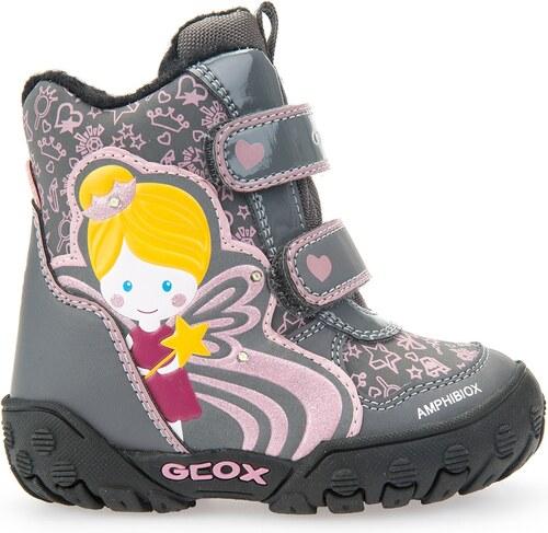 Geox Dívčí zateplené svítící kotníkové boty B Gulp B Girl Abx - šedé ... 91393ceeff