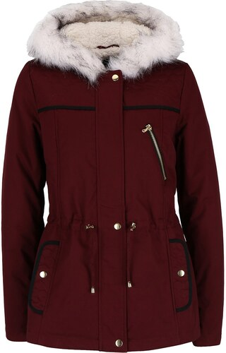 8c89d6be381e Vínová krátká parka s kapucí s umělým kožíškem Dorothy Perkins ...