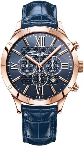 thomas sabo montre pour homme bleu wa0211 270 209 43 mm. Black Bedroom Furniture Sets. Home Design Ideas