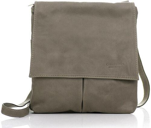 Kožená šedá kabelka cez rameno - L26p odtiene farieb  šedá - Glami.sk 47c129f4f29