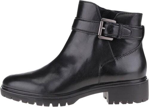 Čierne dámske kožené členkové topánky s prackou Geox Peaceful - Glami.sk d072a6021a3