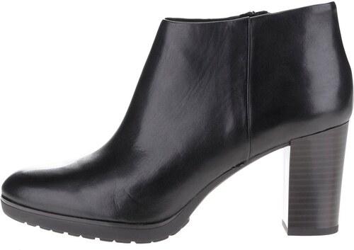 26dc28376c0 Černé kožené dámské kotníkové boty na vysokém podpatku Geox Raphal ...