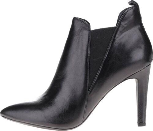 3b023f454bd Černé dámské kožené boty na podpatku Geox Caroline - Glami.cz