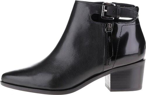 b14f3ff5aa3 Černé kožené kotníkové boty na podpatku s detaily Geox Lia - Glami.cz