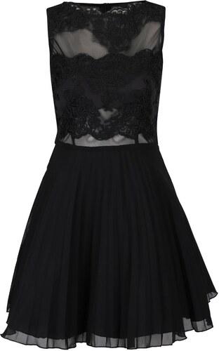 Čierne šaty s čipkou a plisovanou sukňou AX Paris - Glami.sk c9fb88d5428