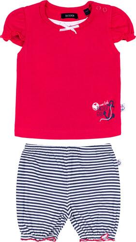 Blue Seven Dětská souprava tmavě růžové tričko a pruhované kalhotky ... 5922e11233