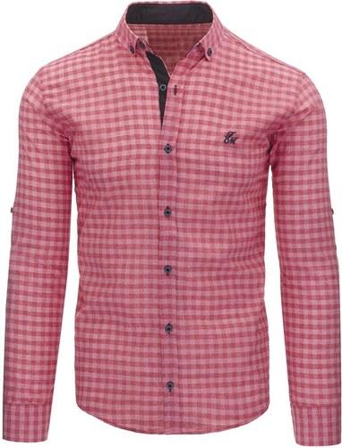 9ae7ea45c5f0 Pánska kockovaná košeľa s dlhými rukávmi ružová - Glami.sk