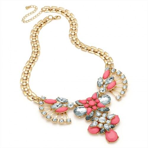 Dámský růžový náhrdelník Leona 29198