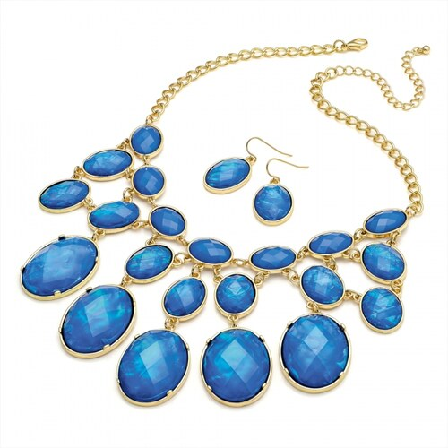 SET: Modrý náhrdelník a náušnice Lucinda 29323