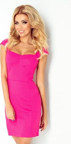 8dd66364e NUMOCO Ružové šaty s výstrihom - 118-3 odtiene farieb: ružová - Glami.sk