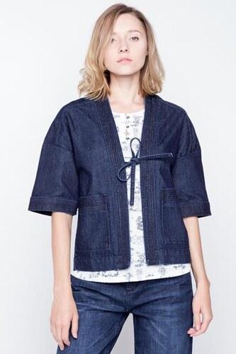 Qxvwx4 Polyester Kimono Veste S Taille Jeans Broderie Femme Bleu qrqa1w8C