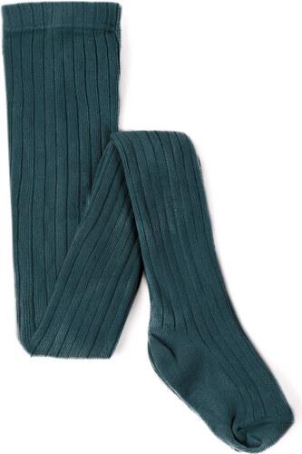 Collants Maille Côtelée Basique - Vert Bouteille