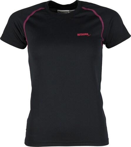 d1d78deca8 Dámské funkční bambusové triko Outdooria - Free Style (černé - tm. růžové  logo)