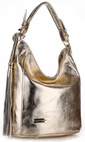 Kožená kabelka VITTORIA GOTTI Made in Italy zlatá - Glami.cz 3443f36973a