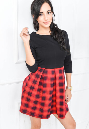 2097cc59c9c7 Červeno-čierne šaty - 84311 odtiene farieb  červená - Glami.sk
