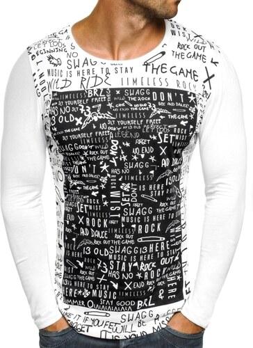 9a11446d024 Breezy Tenké pánské tričko s dlouhým rukávem a potiskem OZONEE 9108 BIELE