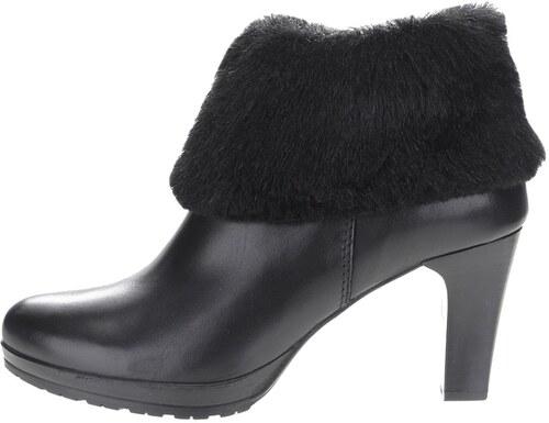 Čierne kožené členkové topánky na podpätku s kožúškom Tamaris - Glami.sk 096c0756276