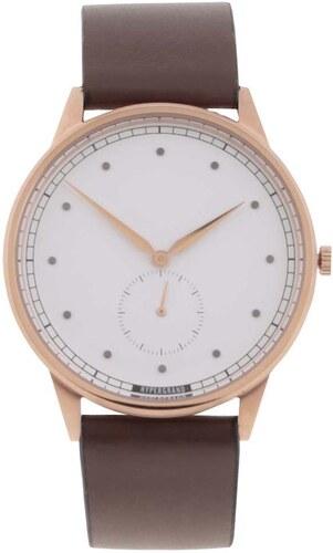 166a0d66544 Pánske hodinky v zlatej farbe s tmavohnedým koženým remienkom HYPERGRAND