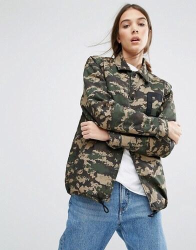 D'entraîneur Camouflage Imprimé Veste Oversize Penn Vert Carhartt En Wip qv7gtt