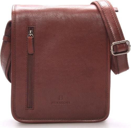 Hnedá luxusná kožená taška cez rameno Hexagona 23483 hnedá - Glami.sk 66d9c683ea8