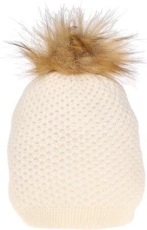 006f4d3775f57 Bonnet rond maille et pompon Blanc Acrylique - Femme Taille T.U - Cache  Cache