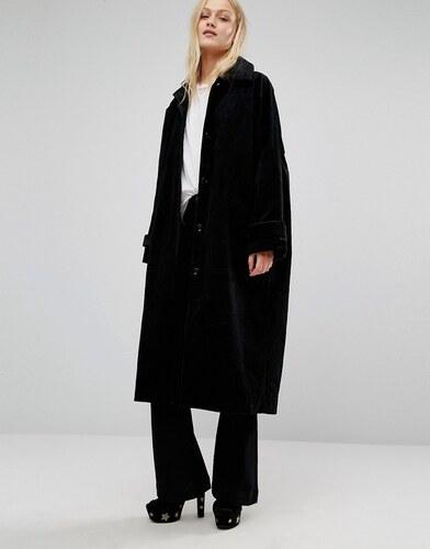 monki manteau long en velours c tel noir. Black Bedroom Furniture Sets. Home Design Ideas