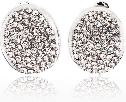 Fashion Icon Náušnice oválné klipsy s krystaly NE0303 - Glami.cz 97633d62408