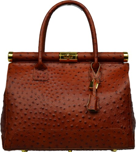 dámské kožené kabelky do ruky Laureta Camel Struzza