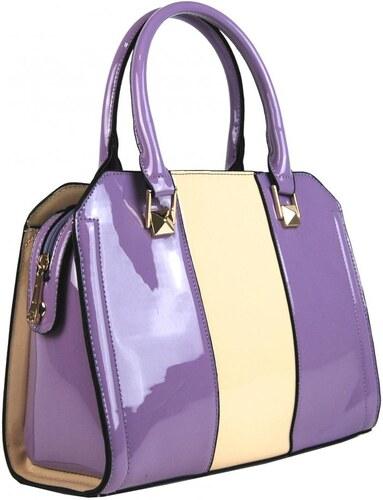 2b90982ff4 Moda Handbag Fialová kabelka do ruky s béžovým pruhom A34176 - Glami.sk