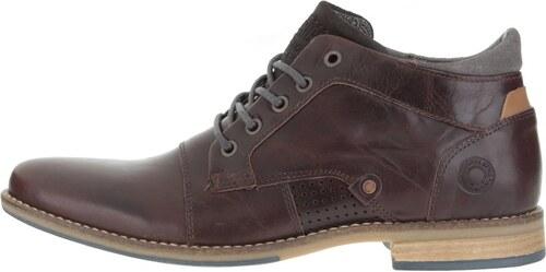 fdb3002f355 Tmavě hnědé pánské kožené kotníkové boty s šedými detaily Bullboxer ...