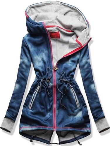 Sweatjacke hellblau D231-1 Jeans Motiv