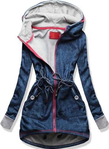 Sweatjacke hellblau D231N Jeans Motiv