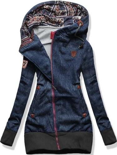 Swaetjacke dunkellblau D278A Jeans Motiv