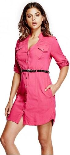 1b687359a GUESS Dámské šaty Kimia Shirtdress - jungle pink - Glami.cz