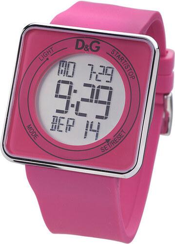 Dámské růžové digitální hodinky s hranatým ciferníkem Dolce   Gabbana 2178f5d918