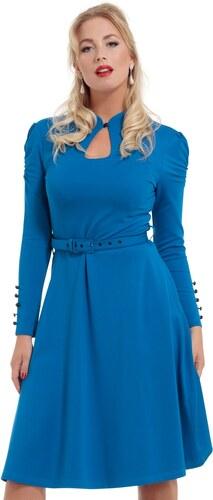 9e135d84ab4 Modré šaty s dlouhým rukávem Voodoo Vixen Dita L - Glami.cz