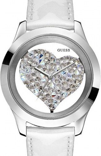 4f55c12a0 Hodinky Guess White and Silver-Tone Clear Heart Watch - Glami.cz