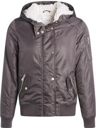 Polyester Taille 1 Femme Cache Bombers Façon Blouson Uni Qovqrc Gris XPkZiu