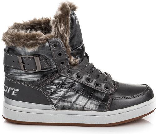 f40cc0c4f06 SPORT Dětské zimní šedé boty s kožíškem a šněrováním na tkaničky 33 ...