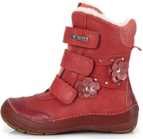 Dětské zimní kotníkové boty D.D.step 023 červené - Glami.cz 60b1504953