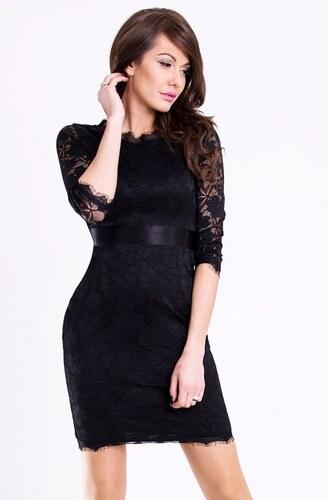 64f0a07b8af Dámské krátké párty společenské krajkové šaty s 3 4 rukávem EMAMODA černé