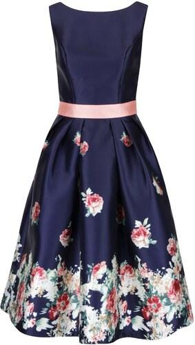 Tmavomodré kvetované šaty s vreckami Chi Chi London - Glami.sk 8d094937b8f