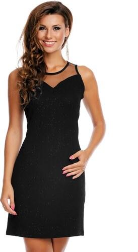 36631f3097e MAYAADI Dámské společenské značkové šaty J J A167 s třpytkami a šifónovým  živůtkem černé