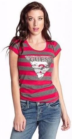 GUESS tričko Tracy červenošedé - Glami.cz a87d2bc878