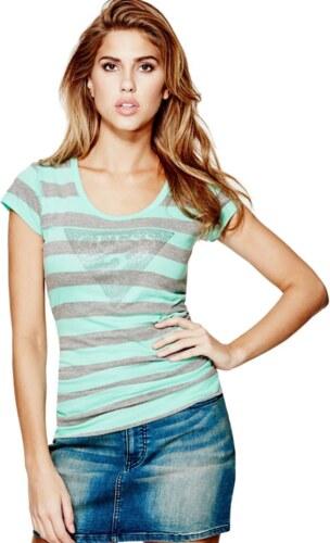 fcd63280ccb GUESS tričko Tracy Stone Stripe Logo Tee sivomentolkové