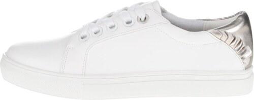 Bílé koženkové tenisky s detaily ve stříbrné barvě Dorothy Perkins ... 25b2c23458