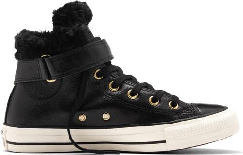 Converse černé kožené dámské boty Brea s kožíškem - 36 - Glami.cz 66a5c52af2
