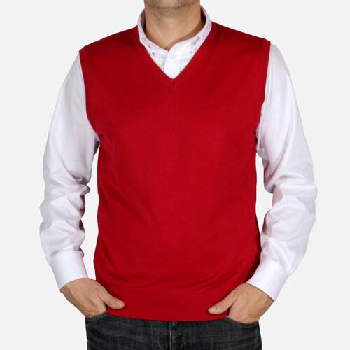 5e167242d168 Pánská pletená vesta Willsoor 5030 v bordó barvě - Glami.cz