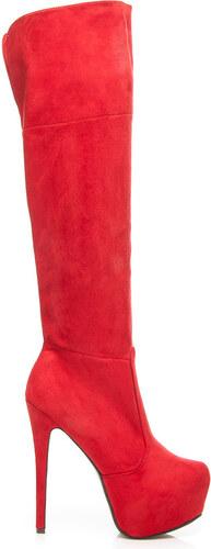 0e9280602a COMER Elegantné červené semišové vysoké čižmy - mušketýrky - Glami.sk